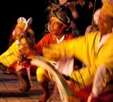 Banda Islands traditional Cakalele dancers perform at Fort Nassau